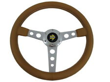Rare Momo Style Brown Leather White Stitch Sport Steering Wheel 347mm