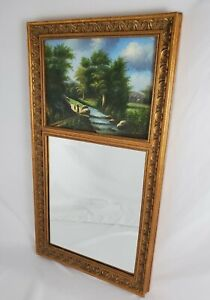 Vintage Trumeau Beveled Wall Mirror With Signed Oil Painting Carved Frame French