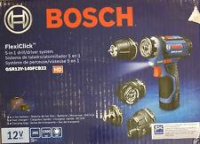 NEW - Bosch GSR12V-140FCB22 FlexClick 5-in-1 12V Drill/Driver System Kit (NR)