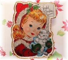 Glittered Wooden Christmas Ornament~Joyful Christmas ~ Vintage Card Image`