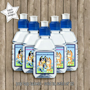 BLUEY BIRTHDAY PARTY PERSONALISED POPTOP DRINK LABELS x12
