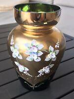 "6"" Moser Bohemian Czech Art Glass Vase. Emerald Sold Paint Raised Enamel Flowers"