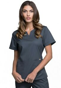 """Luxe Scrubs #770 V-Neck Detailed Scrub Top in """"Pewter"""" Size XS"""