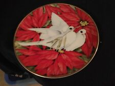 """8.25"""" Franklin Mint CHRISTMAS DOVES PLATE by American Lung Association 1991"""