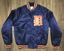 Vintage 1980's Detroit Tigers Satin Starter Jacket RARE TAG Medium. Blue Orange