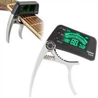 LED Clip-on Electronic Digital Guitar Tuner Capo Chromatic Bass Violin Ukulele