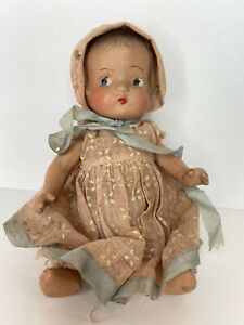 """Vintage Composite Baby Doll Jointed 9"""" Molded Hair W/ Clothes -CRACKS See Photos"""