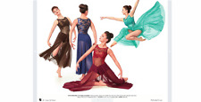 Burgundy Metallic Lace Long Mesh Contemporary Dance Dress Curtain Call Costume S
