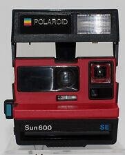 Polaroid Sun 600 SE Instant Camera red black with strap vintage not tested