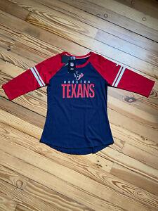 Houston Texans Nike Navy/Red Sleeve Stripe 3/4 Sleeve Raglan Tri-Blend T-Shirt