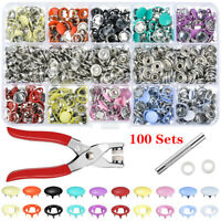 100/200Set Metal Sewing Buttons Hollow Prong Press Stud Snap Fastener Plier Tool