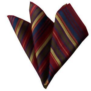 Celino Red Multi Color Stripes Pocket Square for Men Silk Handkerchiefs for Suit