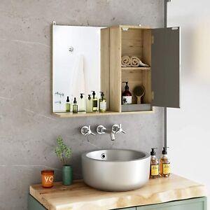 Wall Mounted Mirror Cabinet Storage Shelf+ Door Bathroom Cupboard