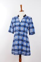 MARNI Women's Blue Birds Silk Long Blouse Top Shirt Tunic US10 40 M Medium #W1