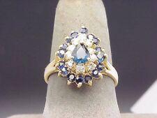 Diamond Sapphire 14k Yellow Gold Estate Ring .40 ct