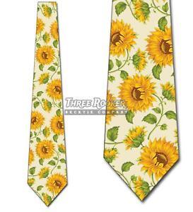 Sunflower Ties Mens Floral Wedding Necktie Yellow Flower Tie