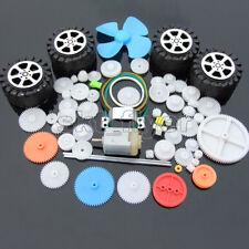 62pcs Plastic Gear Gearbox 130 Motor Wheel Car Robot Belt Pulley Fan RC Part