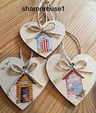 Nautical Beach Hut Hanging Decorations Shabby Chic Wood Hearts Handmade Neutral
