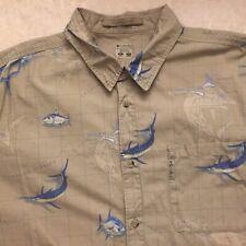 COLUMBIA Mens XL Swordfish/Fishing And Map Logo Short Sleeved Button Front Shirt