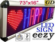 """eezy Led Sign 3Color Rbp 73""""x16"""" Outdoor Indoor Programmable Message Display"""