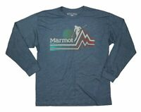 Marmot x Thread Men T-Shirt Heather Blue Size XL Crewneck Ski Piste Tee $35 240