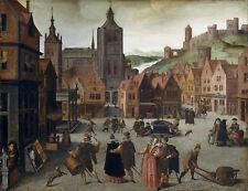 Pintura Grimmer (ATR.) Mercado en Bergen op Zoom LLF0293 impresión de arte cartel