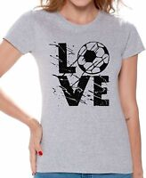 LOVE Soccer Women's T shirt Tops Team Sports Soccer Gifts