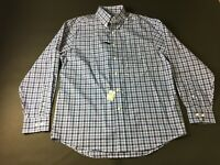 Jos A Bank New Mens Blue Plaid Long Sleeve Button Front Shirt Size Medium