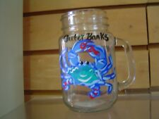 Hand Painted Outer Banks Crab Mason Jar Drinking Glass