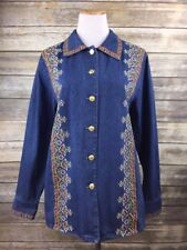 NEW Bob Mackie QVC Denim Jean Embroidered Shirt Jacket Floral Gold Buttons Sz L