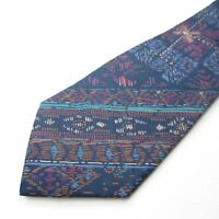 Jim Thompson 100% Silk Mens Necktie Navy Blue Multi Color Abstract Tie U225