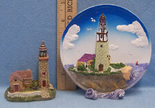 Lot of 2 Nautical Brick Lighthouse Figurines Decor Resin Plate Plaque Sea Side