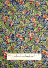 Hoffman Winter Radiance LH102 Christmas Pine Cone Holly Blue Cotton Fabric YARD