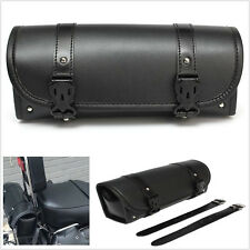 Motorcycle PU Leather Tool Bag Luggage Saddlebag Round Rear Barrel Storage Pouch