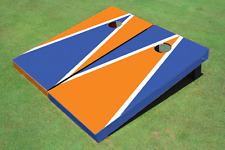 Orange And Blue Alternating Triangle Custom Cornhole Board