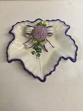 Bella Casa By Ganz Ceramic Bowl White/Purple Dwarf Iris Flower Bow Candy Holder