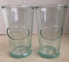 Set Of 2 Italy Farm Cow Juice Milk Glasses Glass Cup Green Tinted