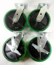 "8"" x 2"" Polyurethane On Cast Iron(Green)- Swivel (2EA) & Swivel with brake (2EA)"