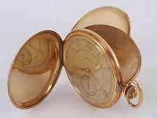 Revue Herren Savonette Taschenuhr 14k (585) Gold 50 mm Guillochiertes Gehäuse