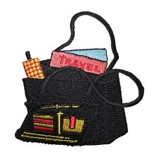 ID 8362 Black Travel Tote Bag Fashion Iron On Embroidered Patch Applique