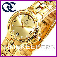 Señoras Oskar Emil Casablanca 304l 23k Gold Dial Swiss Classic Dress Watch £ 195