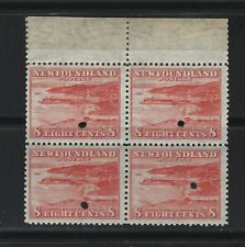 NEWFOUNDLAND - #259 - CORNER BROOK PAPER MILL TAB BLOCK OF 4 WITH SECURITY PUNCH