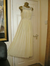 12 JOVONNA MAXI DRESS CREAMY YELLOW CHIFFON BRIDAL / BALL 20S 30'S VINTAGE