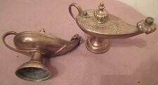 pair of vintage very heavy ornate solid brass aladdin genie oil burning lamp
