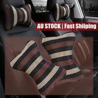 2PCS Car Ice Silk Seat Head Neck Rest Cushion HeadRest Pillow Travel Cooling Pad