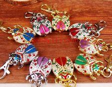Wholesale 10 pcs Fashion Crystal Ladybug Key Ring watches gifts  LK81 -FREE P&P