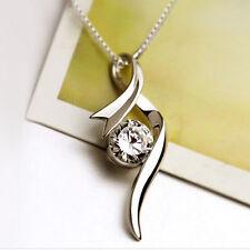Damen Frauen Kristall Strass Hochzeits Silber Halskette Schmuck Geschenk