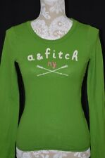 Abercrombie & Fitch Kids Large Crew Neck Long Sleeve Shirt Top Green Pink