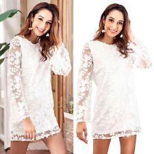 Summer Women Lady Long Sleeve Lace Short Dress Loose Backless Casual Dress