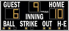 Used Translux Fair-Play BA-7109-2 Outdoor Baseball Scoreboard (4' x 9')